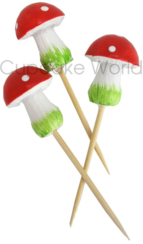 ROBERT GORDON FAIRY SMURF TOADSTOOL MUSHROOM CUPCAKE TOPPER 6pc