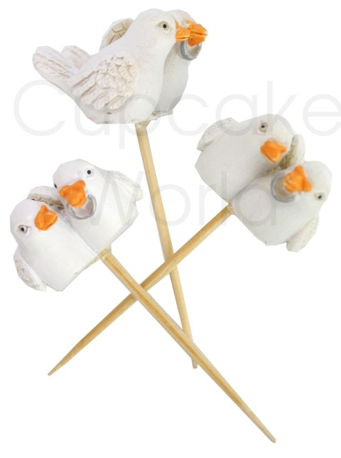 ROBERT GORDON WEDDING DOVE BIRDS CUPCAKE MINIATURE TOPPER 6pc