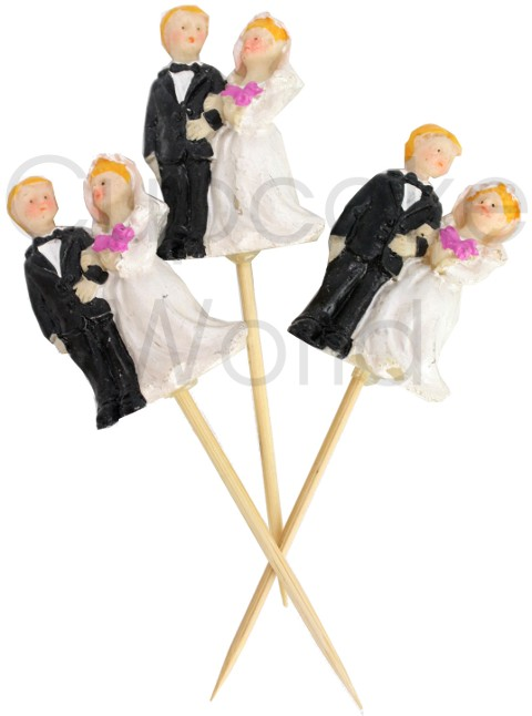 ROBERT GORDON WEDDING BRIDE & GROOM MINI CAKE CUPCAKE TOPPER 6pc