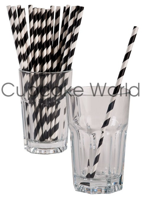 ROBERT GORDON RETRO PARTY PAPER STRAWS BLACK STRIPE 24PK