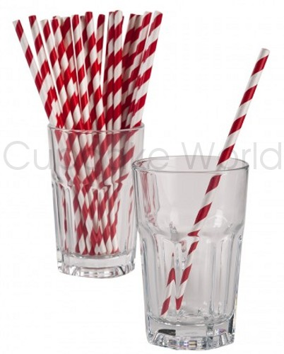 ROBERT GORDON RETRO PARTY PAPER STRAWS RED STRIPE 24PK