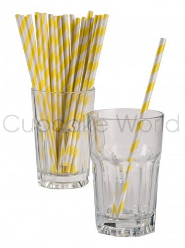 ROBERT GORDON RETRO PARTY PAPER STRAWS YELLOW STRIPE 24PK