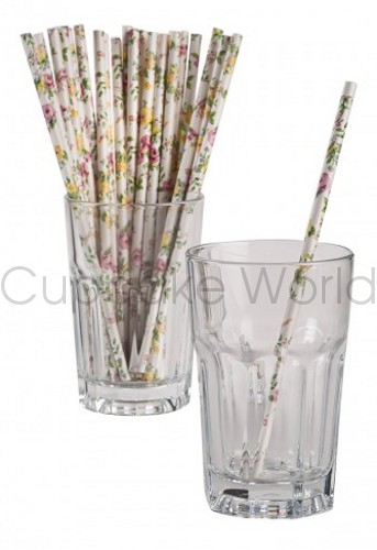 ROSE FLORAL VINTAGE ROBERT GORDON RETRO PARTY PAPER STRAWS 24PK