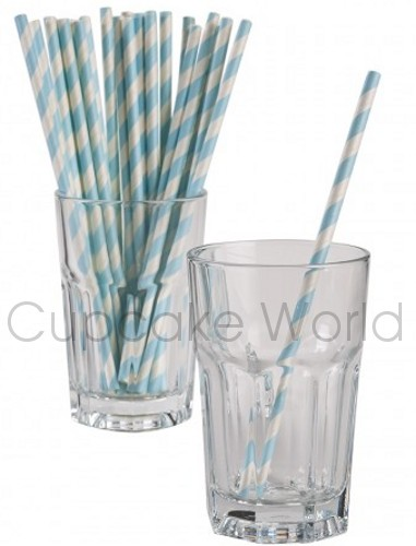ROBERT GORDON RETRO PARTY PAPER STRAWS BABY BLUE STRIPE 24PK