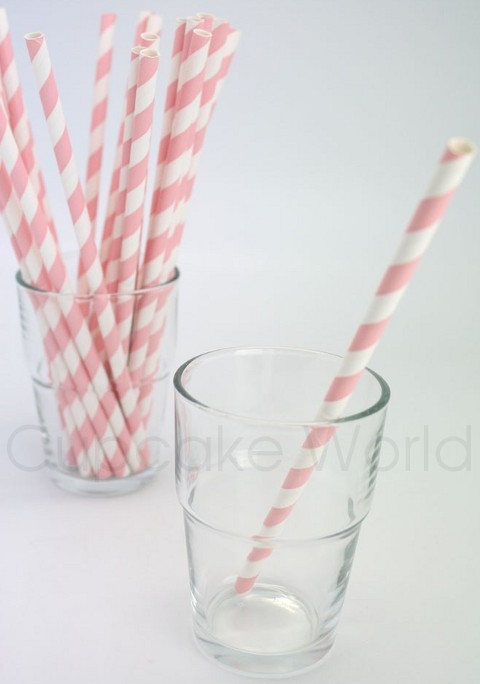 ROBERT GORDON RETRO PARTY PAPER STRAWS CANDY PINK STRIPE 24PK