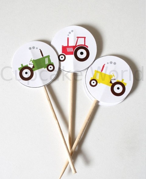 ROBERT GORDON TO THE FARM TRACTOR CUPCAKE TOPPERS 24pc
