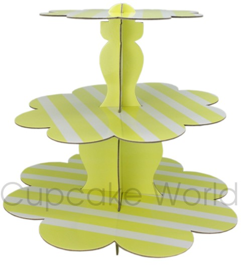 ROBERT GORDON YELLOW STRIPE CUPCAKE 3 TIER STAND DISPLAY