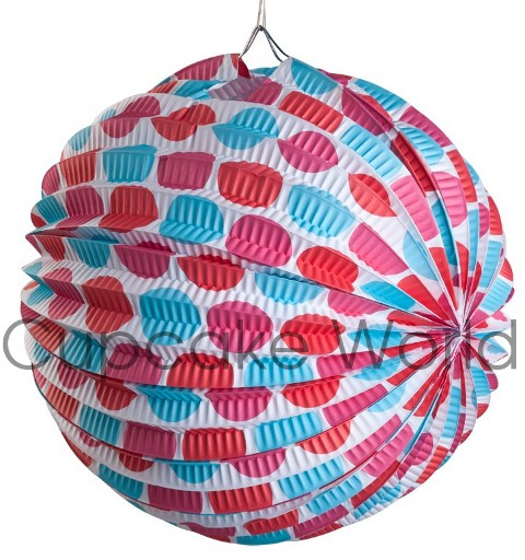 ROBERT GORDON RED BLUE PINK MULTI SPOT PAPER LANTERNS 6PCS