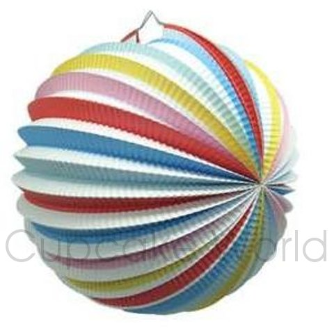 ROBERT GORDON RAINBOW CARNIVAL STRIPES FESTIVE PAPER LANTERNS x6