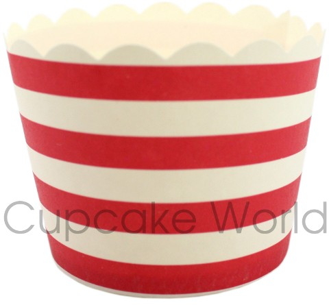 ROBERT GORDON RED CANDY STRIPES CUPCAKE BAKING CUPS PETIT x25