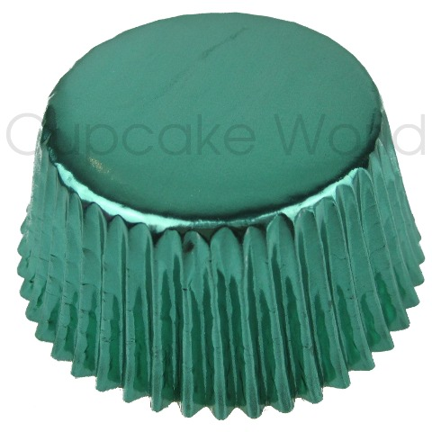 25PCS MINT GREEN SHINY FOIL MUFFIN CUPCAKE CASES PATTY PANS
