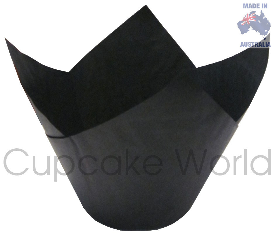 WIDE 100PCS BLACK STANDARD CAFE STYLE MUFFIN CUPCAKE PAPER