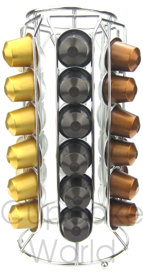 SLEEK CYLINDER COFFEE CAPSULE RACK STAND FOR 36 NESPRESSO PODS