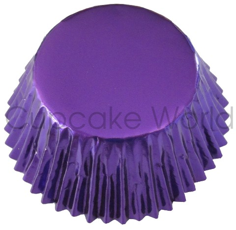 GRAPE PURPLE SHINY FOIL MUFFIN CUPCAKE PATTY CASES X25