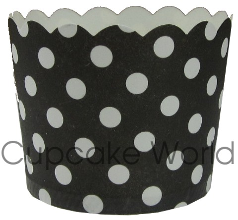 ROBERT GORDON BLACK POLKA DOTS CUPCAKE BAKING CUPS PETIT x25