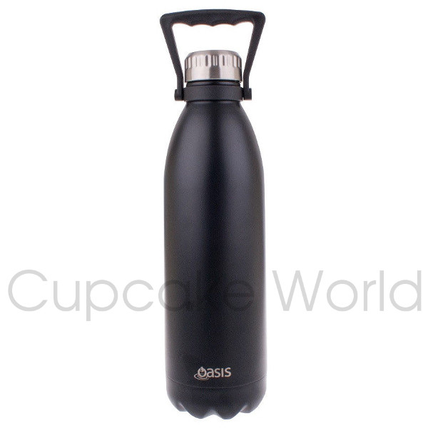 OASIS 1.5L S/S MATT BLACK DOUBLE WALL INSULATED DRINK BOTTLE