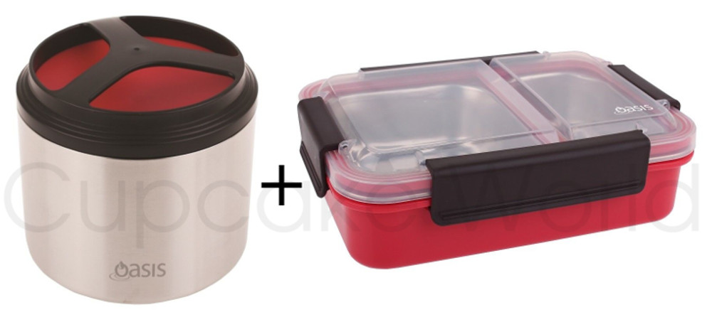 RED OASIS STAINLESS STEEL 1L VACUUM FOOD CONTAINER & LUNCH BOX!