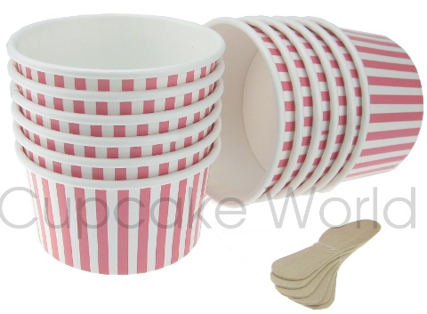 ROBERT GORDON PINK STRIPES ICE CREAM CUPS & SPOONS FOR 12