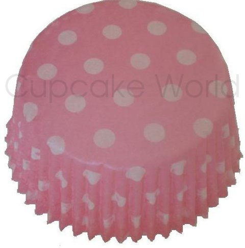 CUTE PINK POLKA DOTS PAPER MUFFIN / CUPCAKE CASES X 50