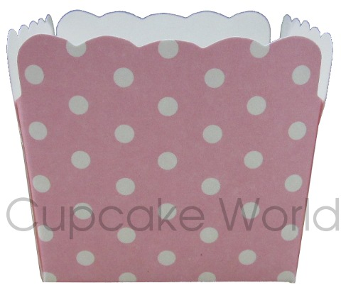12PCS ROBERT GORDON SQUARE PINK POLKA DOTS CUPCAKE MUFFIN CUPS