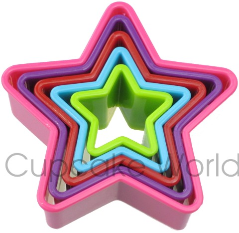 RAINBOW STAR SHAPED COOKIE BISCUIT FONDANT CUTTER SET OF 5