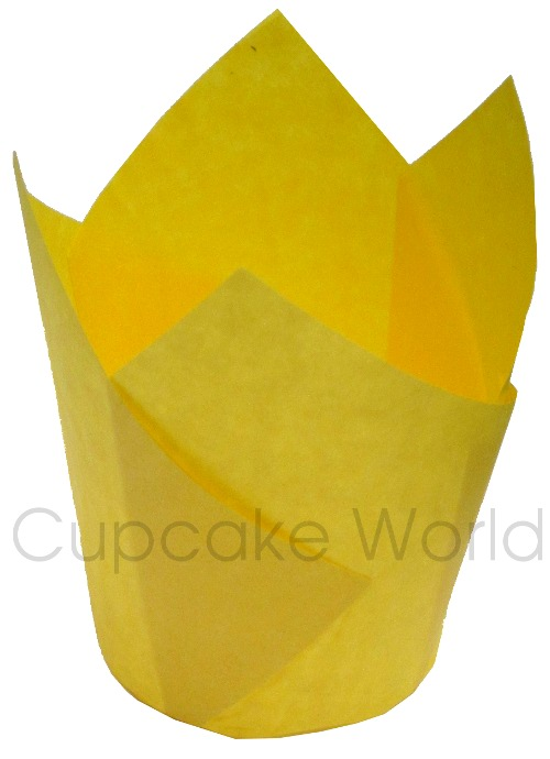 25PC CAFE STYLE YELLOW PAPER CUPCAKE MUFFIN WRAPS STANDARD