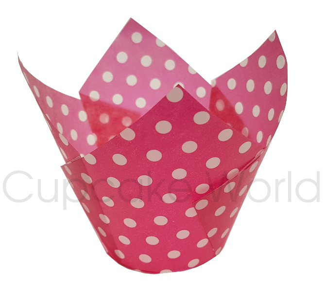 200PC CAFE STYLE HOT PINK POLKA DOTS PAPER CUPCAKE MUFFIN JUMBO