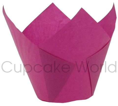 25PC CAFE STYLE HOT PINK PAPER CUPCAKE MUFFIN WRAPS JUMBO