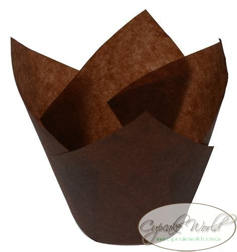 200PCS BROWN JUMBO TEXAS CAFE STYLE PAPER MUFFIN CUPCAKE CASES