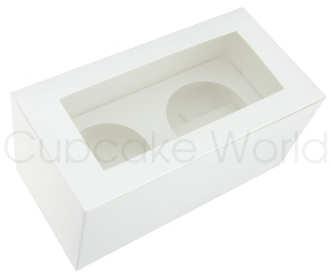 WHITE 2 HOLE CUPCAKE MUFFIN WINDOW BOX WITH INSERT