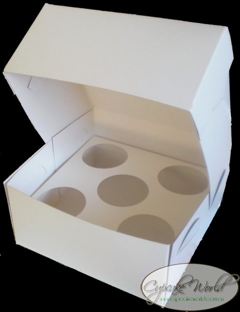 WHITE 5 HOLE MUFFIN CUPCAKE BOX - PACK OF 5