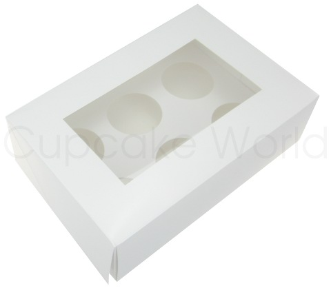 WHITE 6 HOLE MUFFIN CUPCAKE WINDOW BOX WITH INSERT