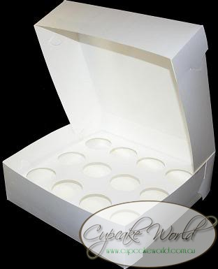 WHITE 12 HOLE MUFFIN CUPCAKE BOX - PACK OF 2