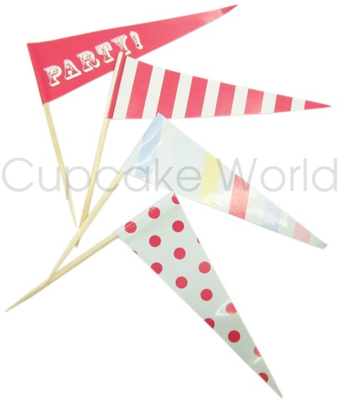 ROBERT GORDON MY LITTLE CIRCUS CUPCAKE FLAGS TOPPERS 24pc