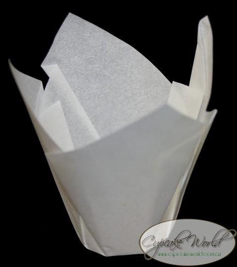 100pc Cafe Style White Paper Cupcake Muffin Wraps Mini 8 91