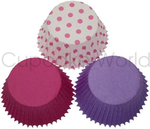 PINK PURPLE TRIO PAPER MUFFIN CUPCAKE CASES CUPS X 60