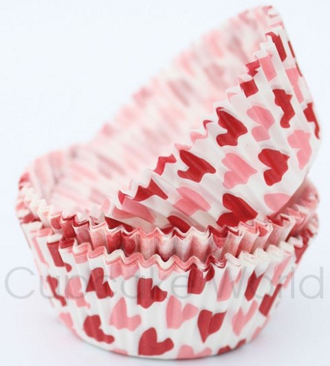 ROBERT GORDON TWO HEARTS CRINKLE CUPCAKE MUFFIN PATTY CASES x50