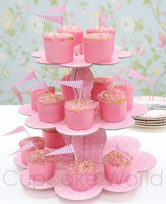 ROBERT GORDON PINK DOTS CUPCAKE 3 TIER STAND DISPLAY