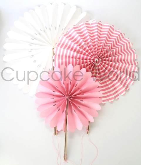 ROBERT GORDON PINK STRIPES ROUND LOLLIPOP PAPER FANS SET OF 3