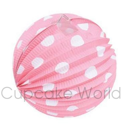 ROBERT GORDON FESTIVE PAPER LANTERNS SWEET PINK POLKA DOTS 6PCS