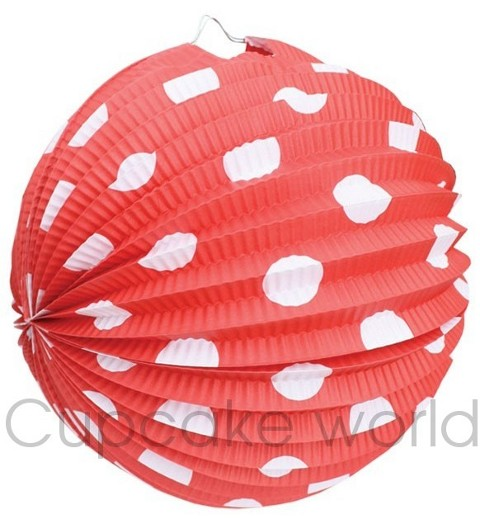 ROBERT GORDON FESTIVE PAPER LANTERNS RED POLKA DOTS x6