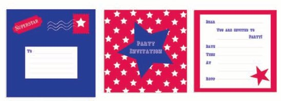 ROBERT GORDON RED BLUE SUPERSTAR PARTY INVITATION CARD