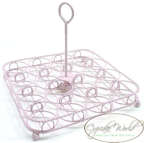ROBERT GORDON PINK WIRE CUPCAKE CARRIER HOLDER STAND