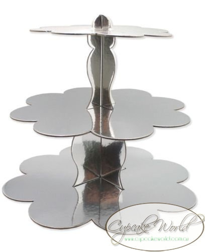 ROBERT GORDON SILVER CAKE CUPCAKE 3 TIER STAND DISPLAY