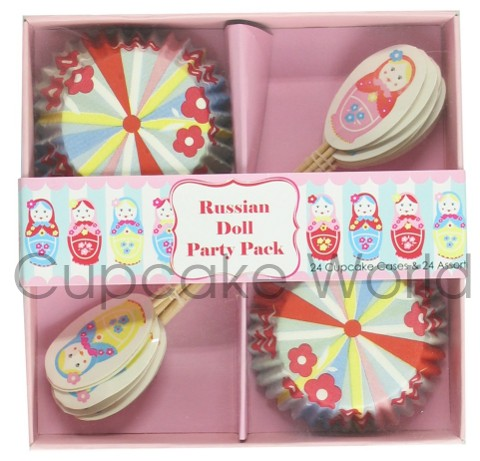 ROBERT GORDON RUSSIAN DOLL CUPCAKE CASE & TOPPER PARTY 24 SETS