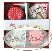 ROBERT GORDON RED TO THE FARM CUPCAKE CASE & TOPPER SET