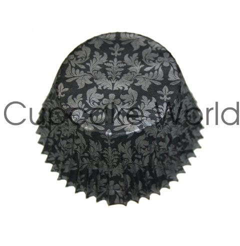 BLACK SILVER FLORAL DAMASK PAPER MUFFIN CUPCAKE CASES PETIT 50PC