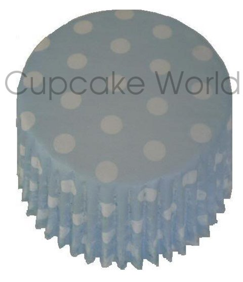 CUTE BLUE POLKA DOTS PAPER MUFFIN / CUPCAKE CASES X 50
