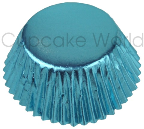 25PCS LOVELY SKY BLUE SHINY FOIL MUFFIN CUPCAKE CASES PATTY PANS