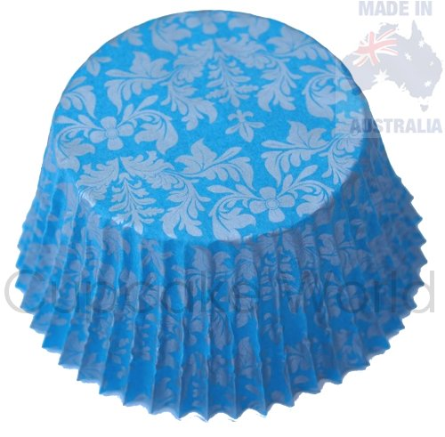 BLUE SILVER FLORAL DAMASK PAPER MUFFIN CUPCAKE CASES 50PCS